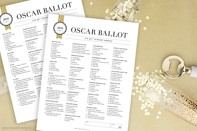 Oscar Ballot Printable by TumbleweedPress.Co