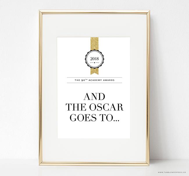 Oscar Party Printable Sign by TumbleweedPress.Co