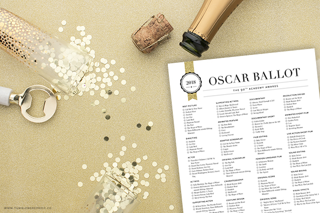 Oscar Ballot Printable Sign by TumbleweedPress.Co