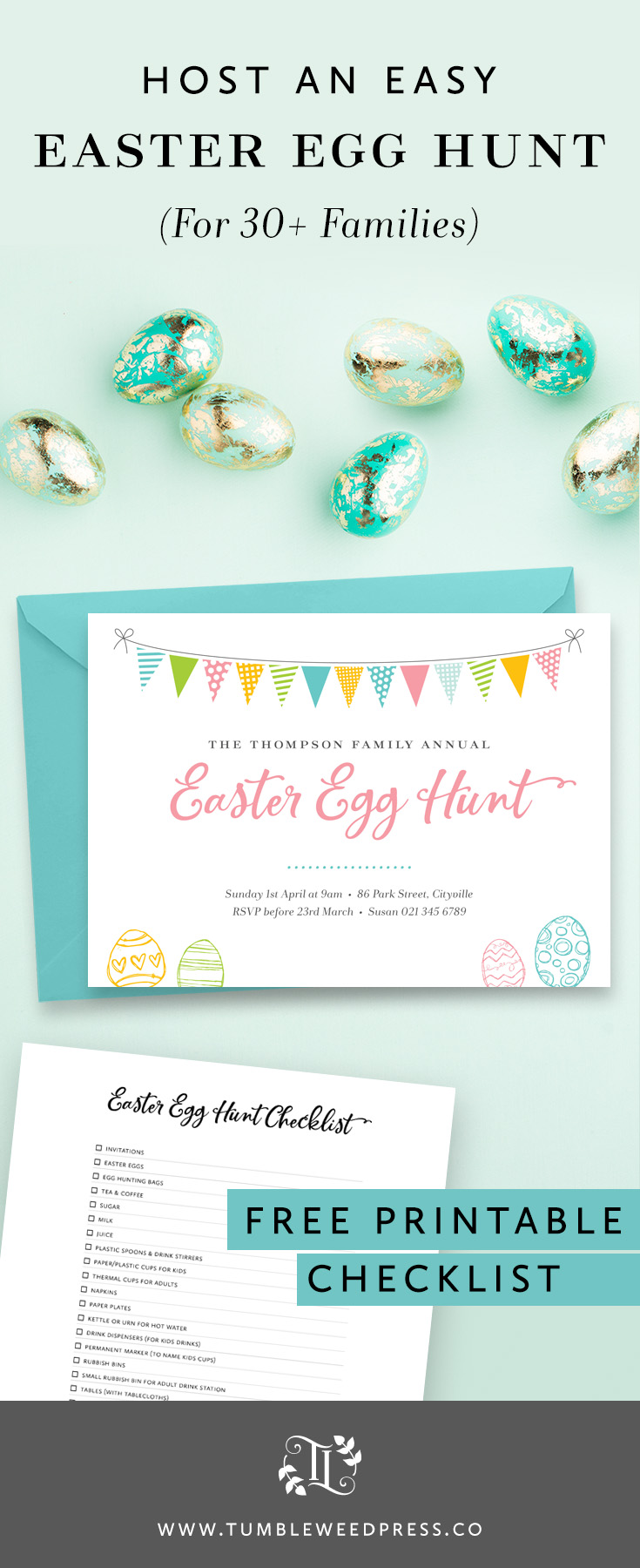 How to host an Easy Easter Egg Hunt for families from TumbleweedPress.Co
