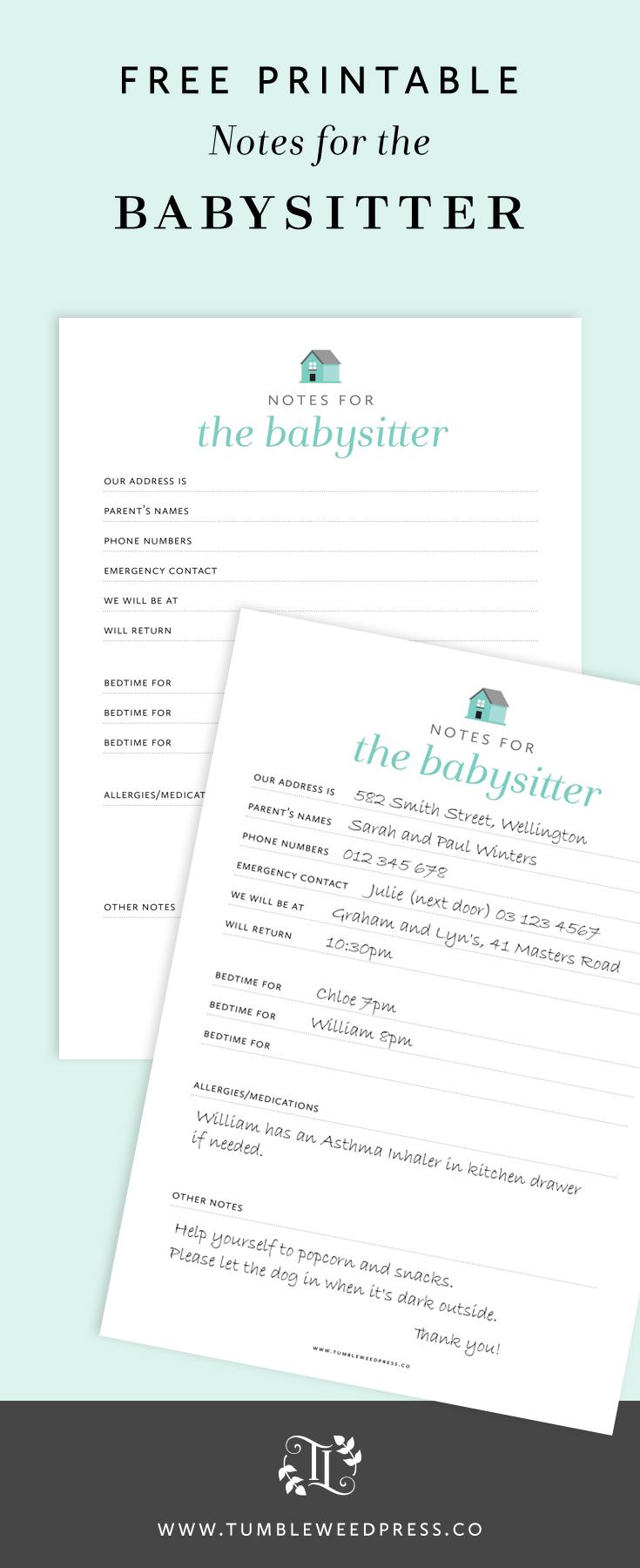 Free Babysitter Notes Printable by TumbleweedPress.Co