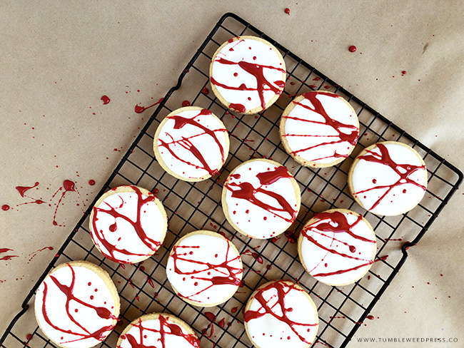 Halloween Blood Splatter Cookies by www.TumbleweedPress.Co