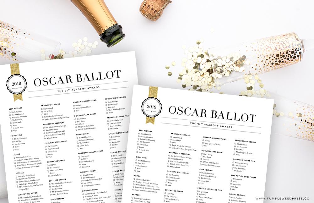 2019 Oscar Ballot Printable by TumbleweedPress.Co