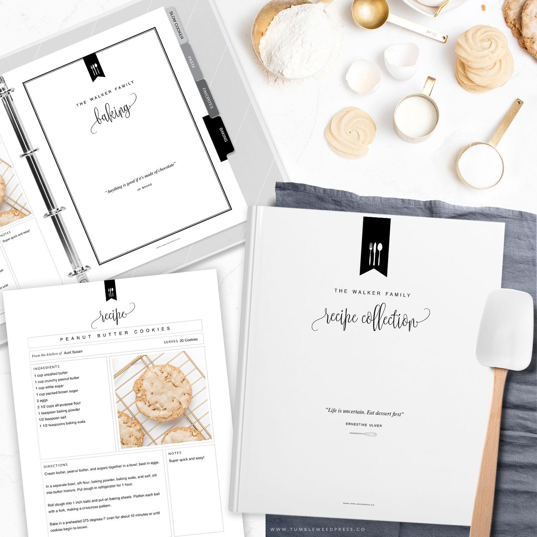 Printable Recipe Binder Kit by Tumbleweed Press