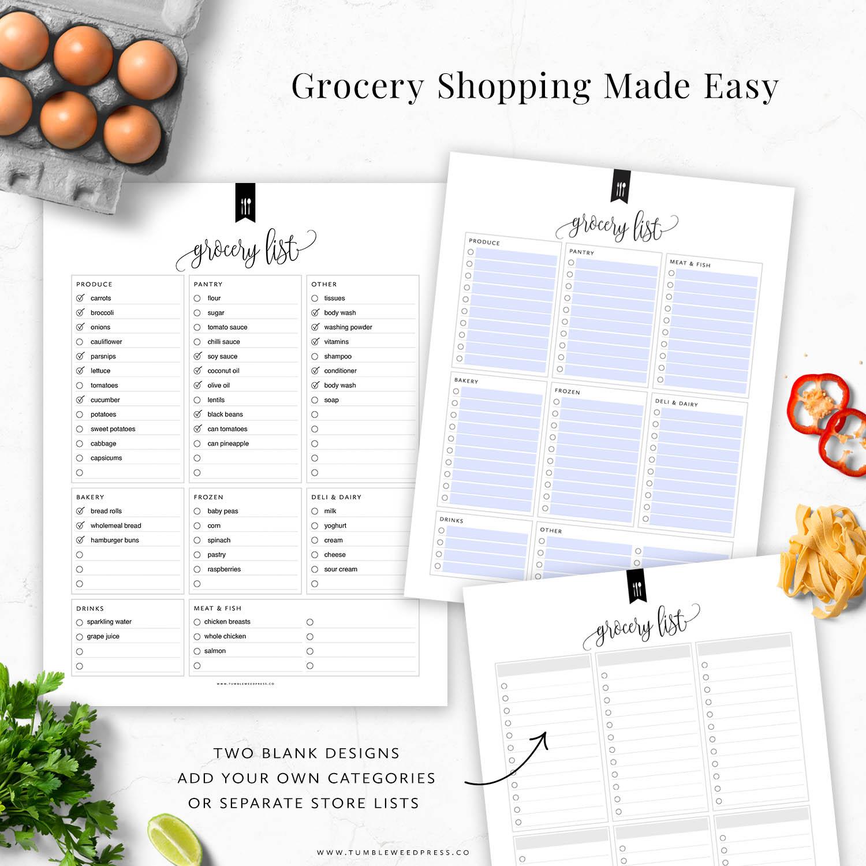 Editable Grocery List Printable by TumbleweedPress.Co
