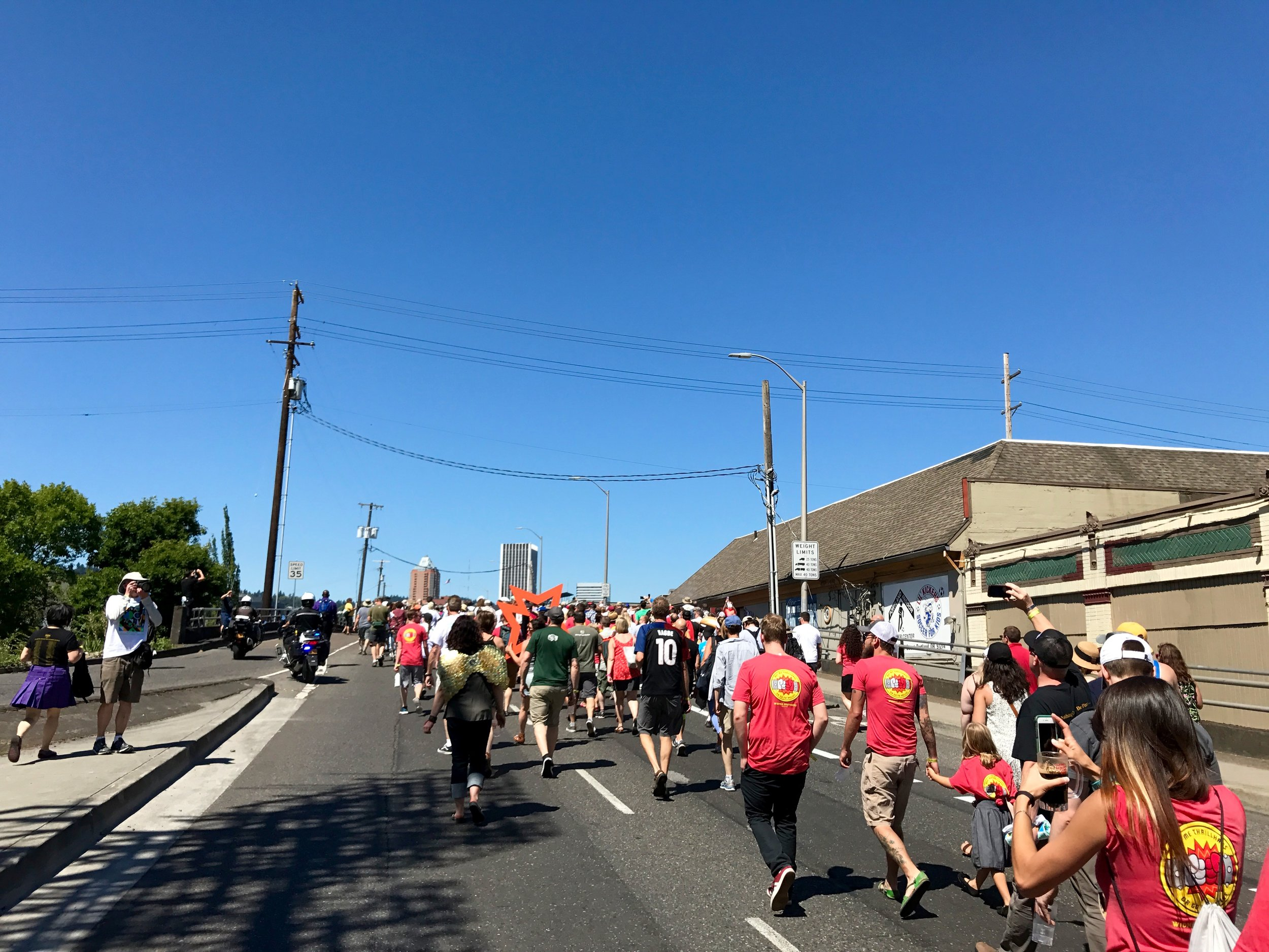 Walking over the Hawthorne bring during the parade