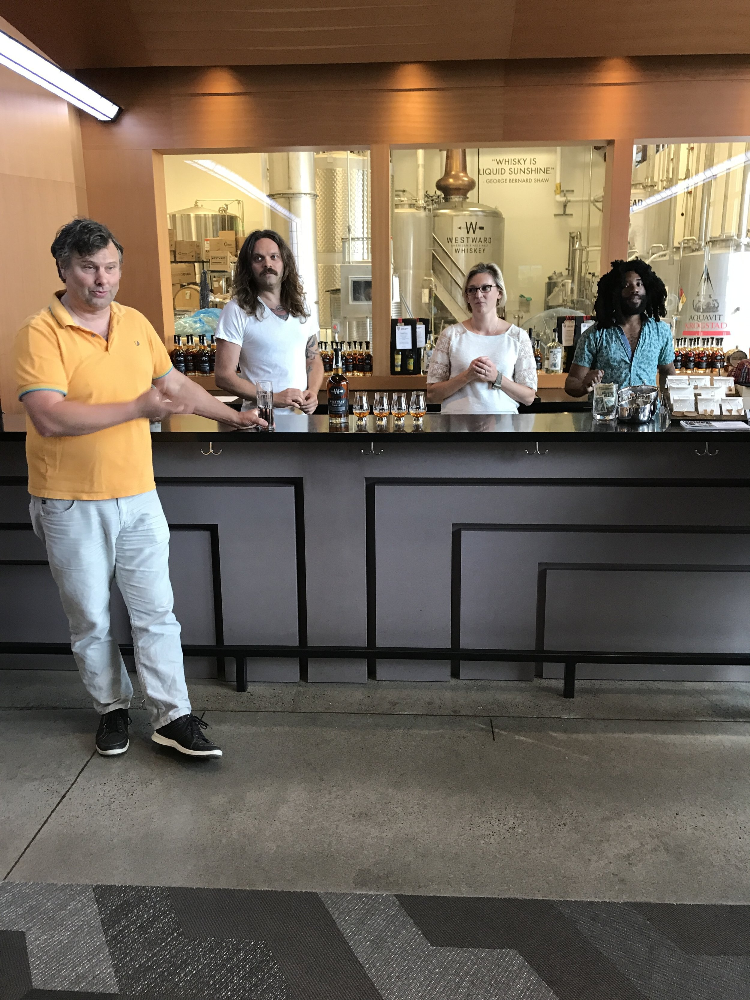 Christian Krogstad, Miles Monroe, and House Spirits staff.
