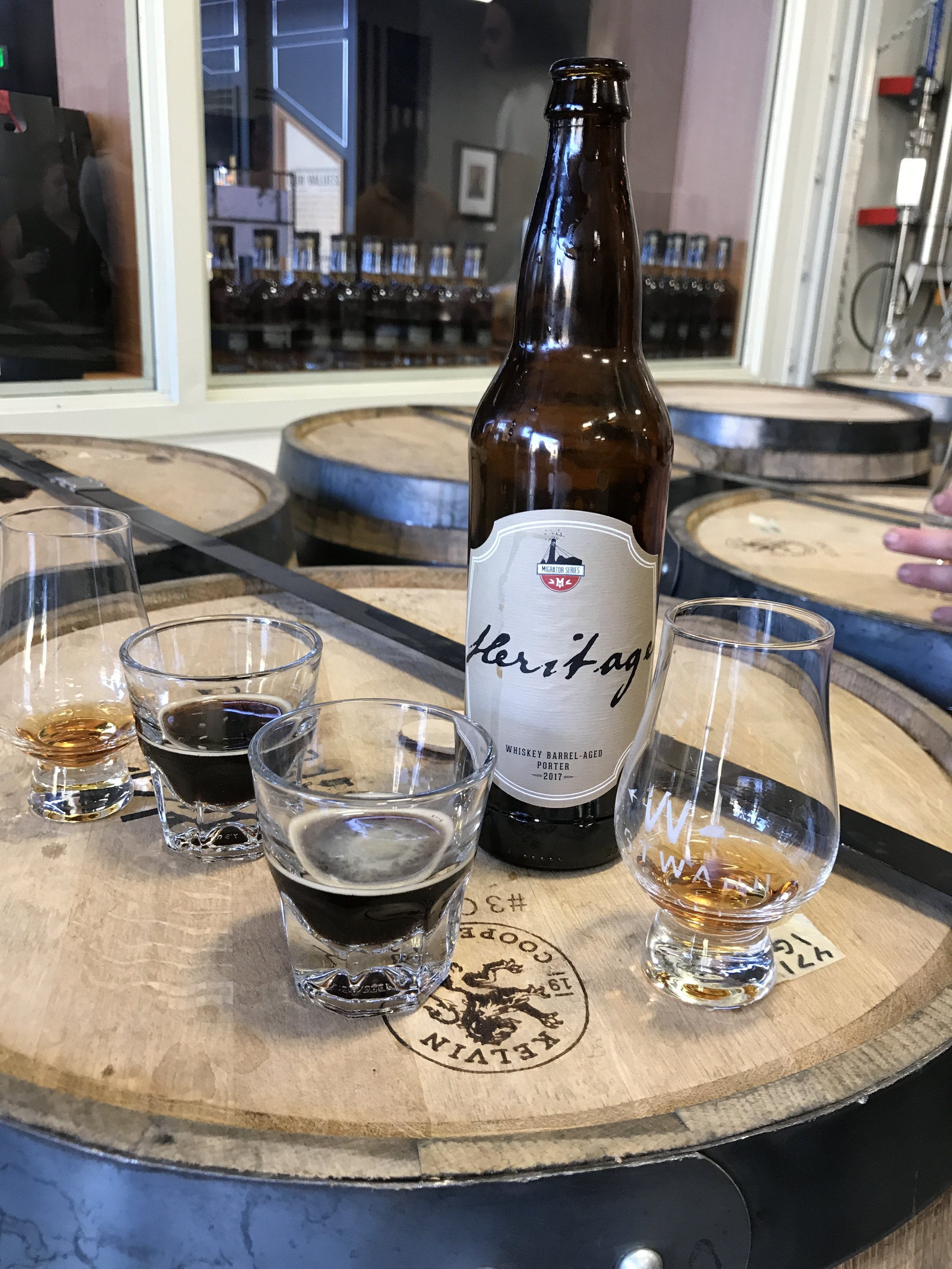 The Pairing: Westward American Single Malt and Migration Brewing's 2017 Heritage, a Whiskey Barrel Aged Porter. Migration aged this beer in House Whiskey Barrels.