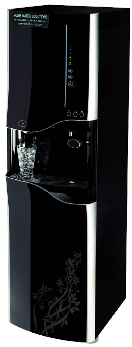 """Height: 58.7""""  Width: 16.9""""  Depth: 19.4""""  Cold Water Storage: 1 GAL  Hot Water Storage: 1.4 GAL  Ambient Water Storage: 4.5 GAL  Ice Storage: 10 LBS  Rated Voltage: 110V/60Hz  Colors: Black"""