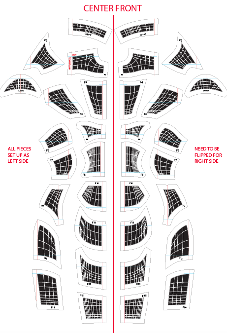 Layout of the dress pattern in Illustrator