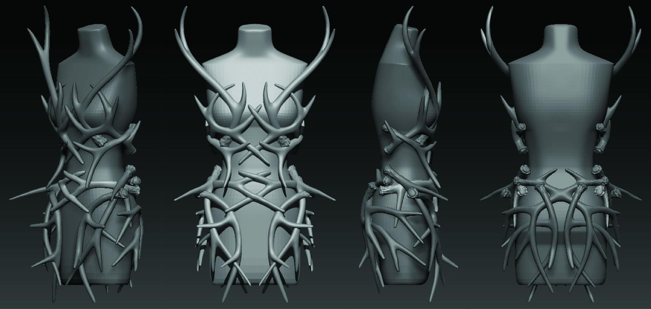 Orthographic rendering of the Antler dress
