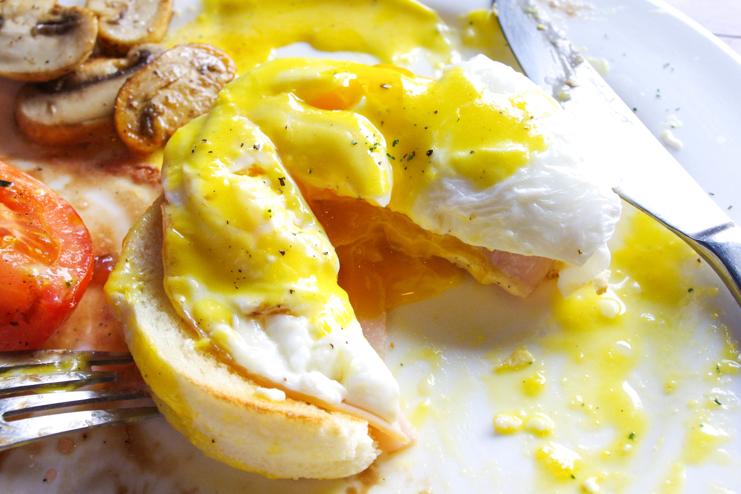 Wonderfully chewy English muffins, sliced ham, large poached eggs, and hollandaise sauce.