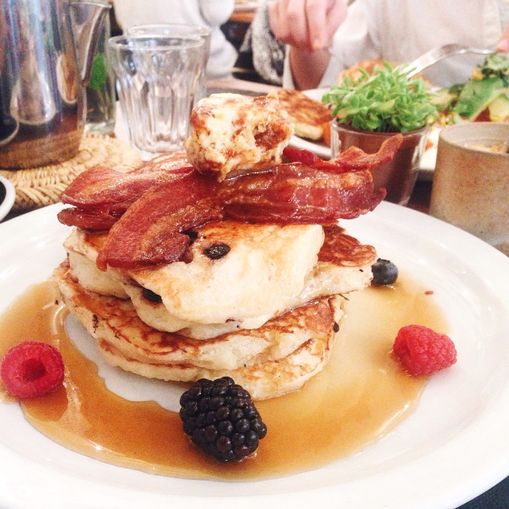 Pancakes w/ bacon and honey butter at Sunday