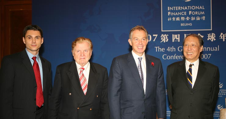 Joah Sapphire, Co-Chair of IFF Robert Mundell, Tony Blair, Co-Chair of IFF Cheng Siwei private meeting
