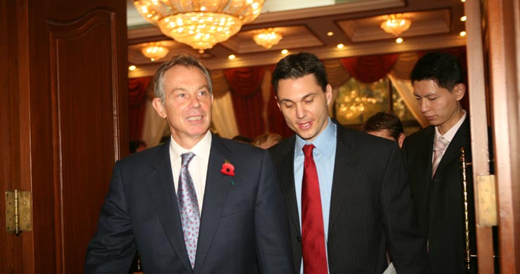 Joah Sapphire and Tony Blair entering VIP reception