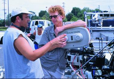 Phil Abraham (right) on set of 'The Sopranos.' Image via Tiffen.