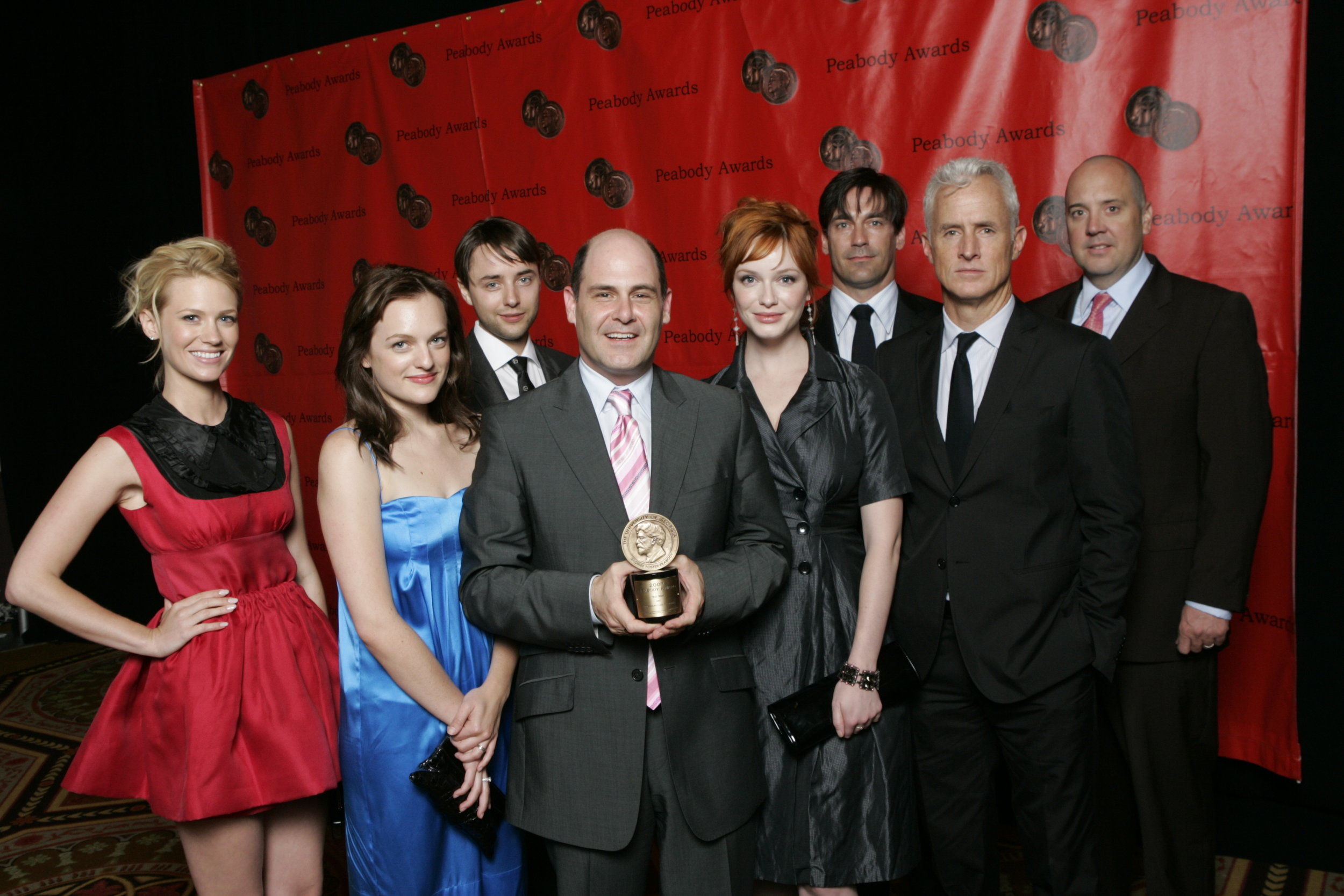 "'TV Legacy: 'Mad Men' creator Matt Weiner and the cast of the show. Serling on commercials: ""I don't really believe there exists a 'good' form of commercial. There are some that are less distasteful than others, but at best they're intrusive."" Image via Wikipedia."