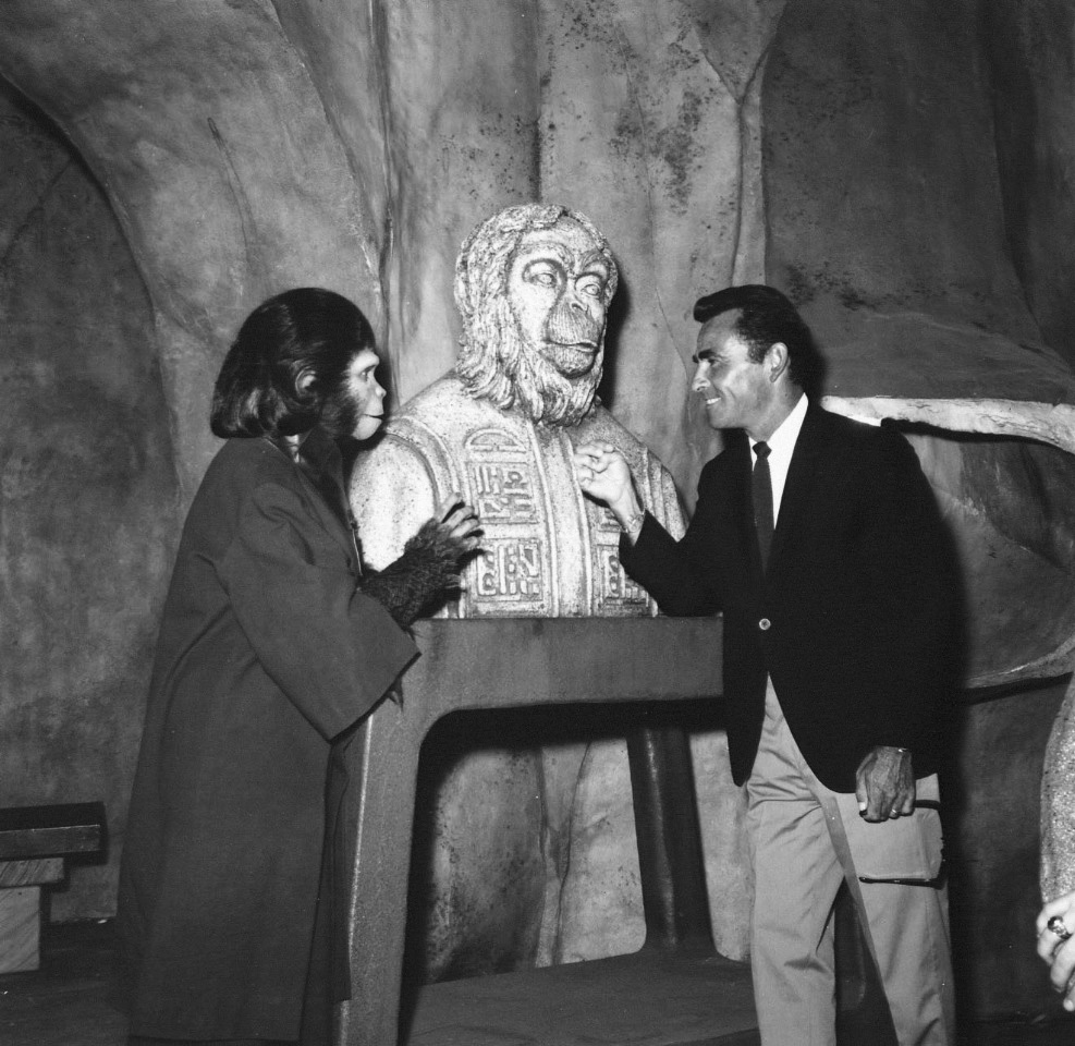 Rod Serling on the set of 'Planet of the Apes' (1968), which he co-wrote.