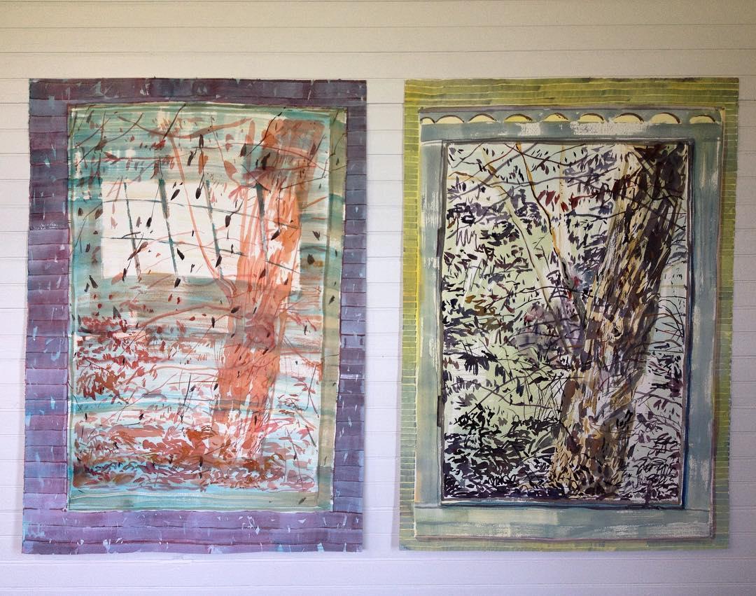 """en plain air watercolor paintings, 30 x 22"""" each"""
