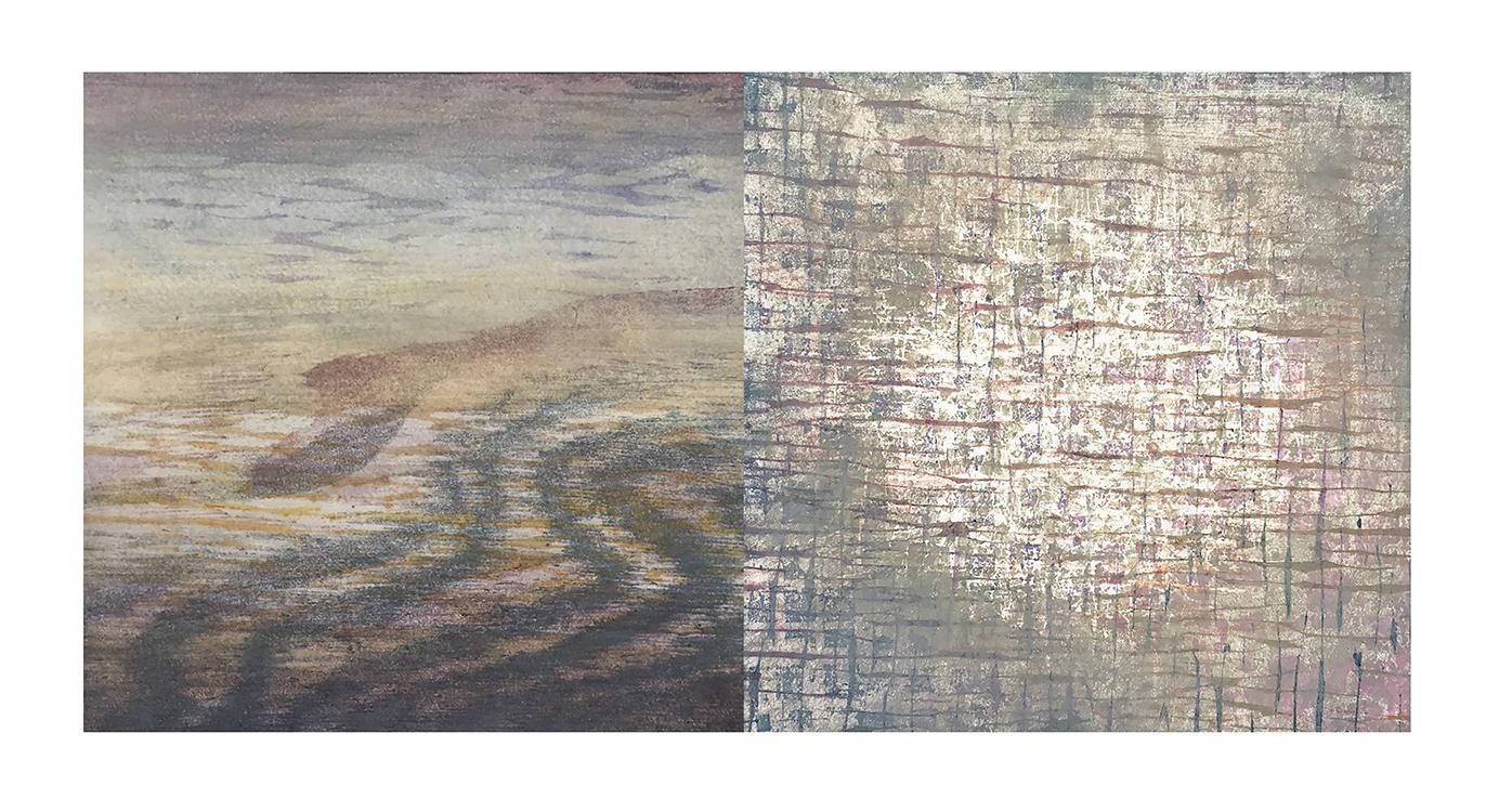 "Interior Topographies #5  mokuhanga on wood block, chin collé, 16"" (w) x 8"" (h) 2017-18"