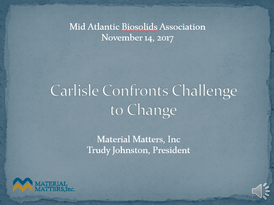 Carlisle Confronts Challenge to Change - Trudy Johnston, Material Matters