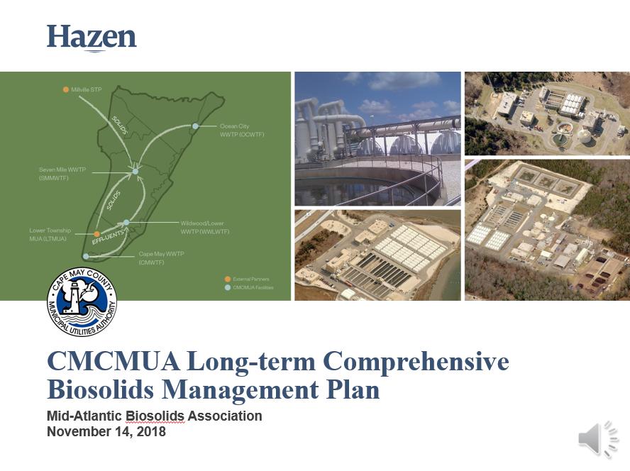 CMCMUA Long-Term Comprehensive Biosolids Management Plan - Matt Van Horne, Hazen & Sawyer