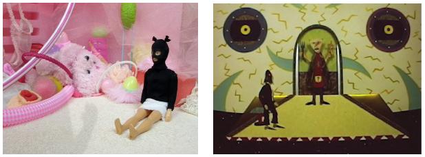Stills from Nightmare, 2009 (left) & Shameless, 1974 (right)