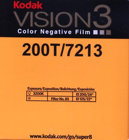 VISION 3 200T/7213   COLOR NEGATIVE SUPER 8MM FILM $30.00 - 50 ft Cartridge