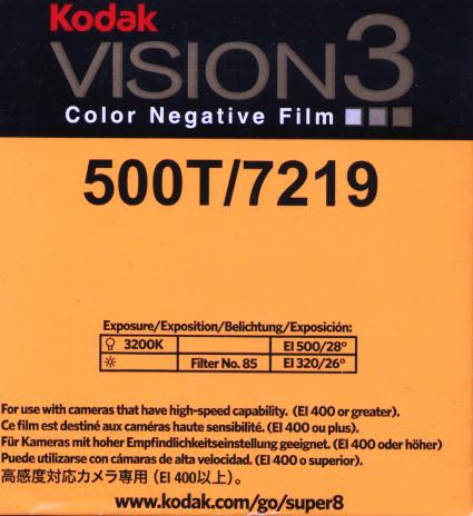 VISION 3 500T/7219   COLOR NEGATIVE SUPER 8MM FILM $30.00 - 50ft SUPER 8 Cartridge