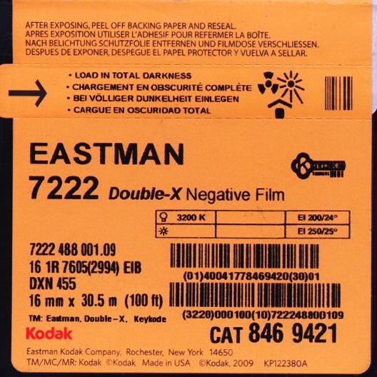 DOUBLE-X 250D/7222   B&W NEGATIVE 16MM $44.00 - 100ft DAYLIGHT SPOOL