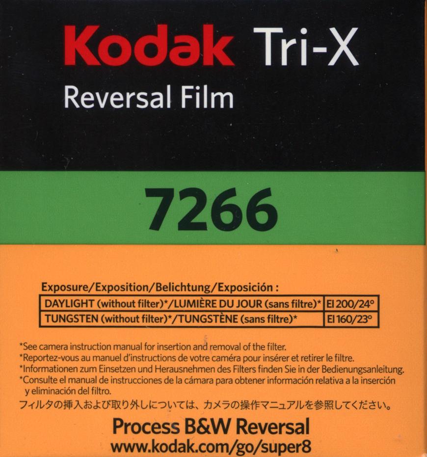 TRI-X 200D/7266   B&W REVERSAL SUPER 8MM FILM $30.00 - 50ft Cartridge