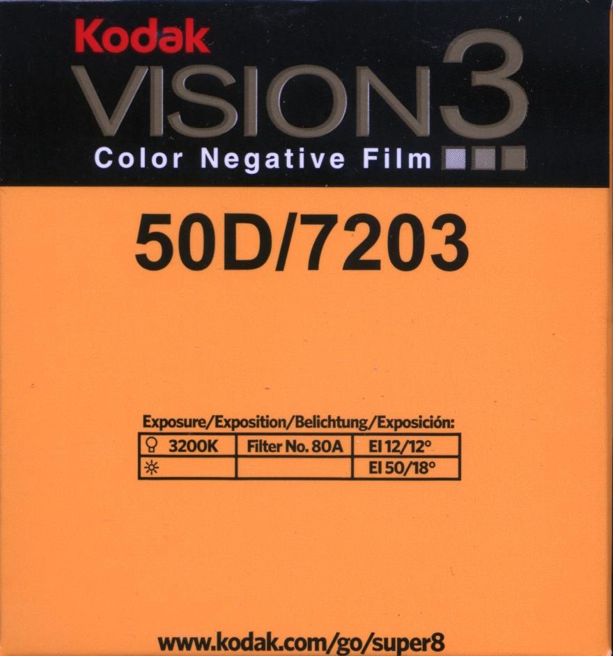 VISION 3 50D/7203   COLOR NEGATIVE SUPER 8MM FILM $30.00 - 50ft SUPER 8 Cartridge