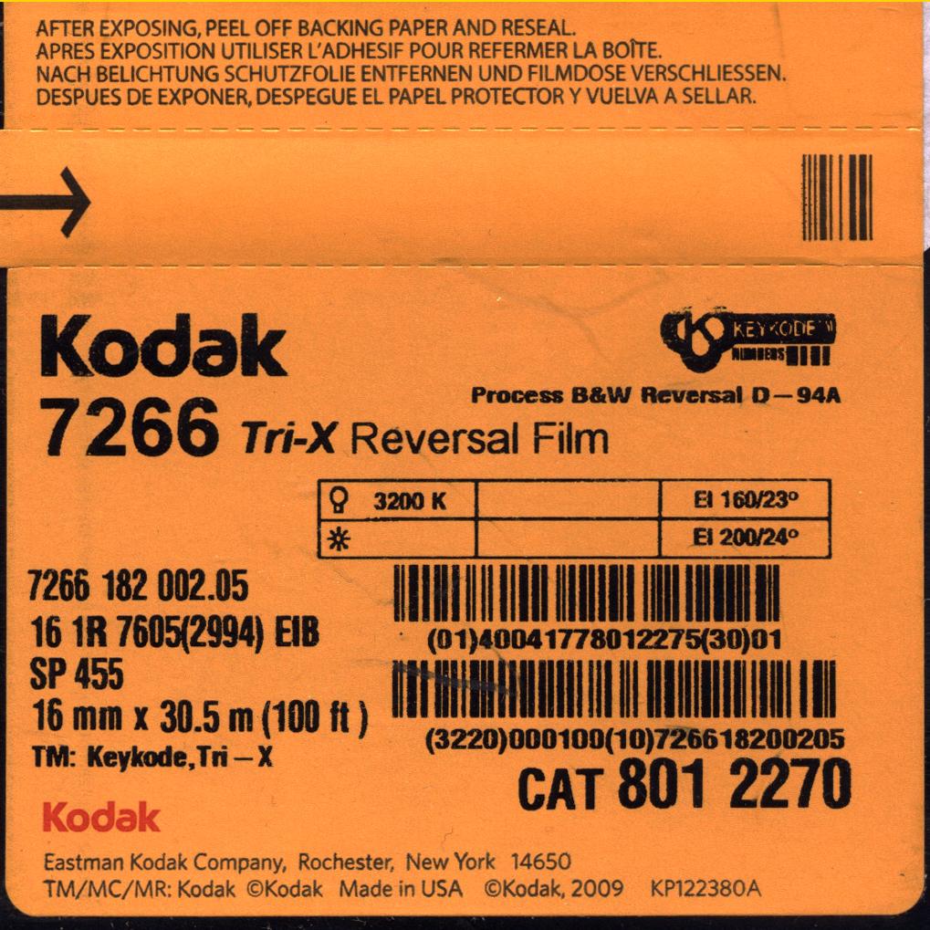 TRI-X 200D/7266   B&W 16MM REVERSAL FILM $44.00 - 100ft DAYLIGHT SPOOL