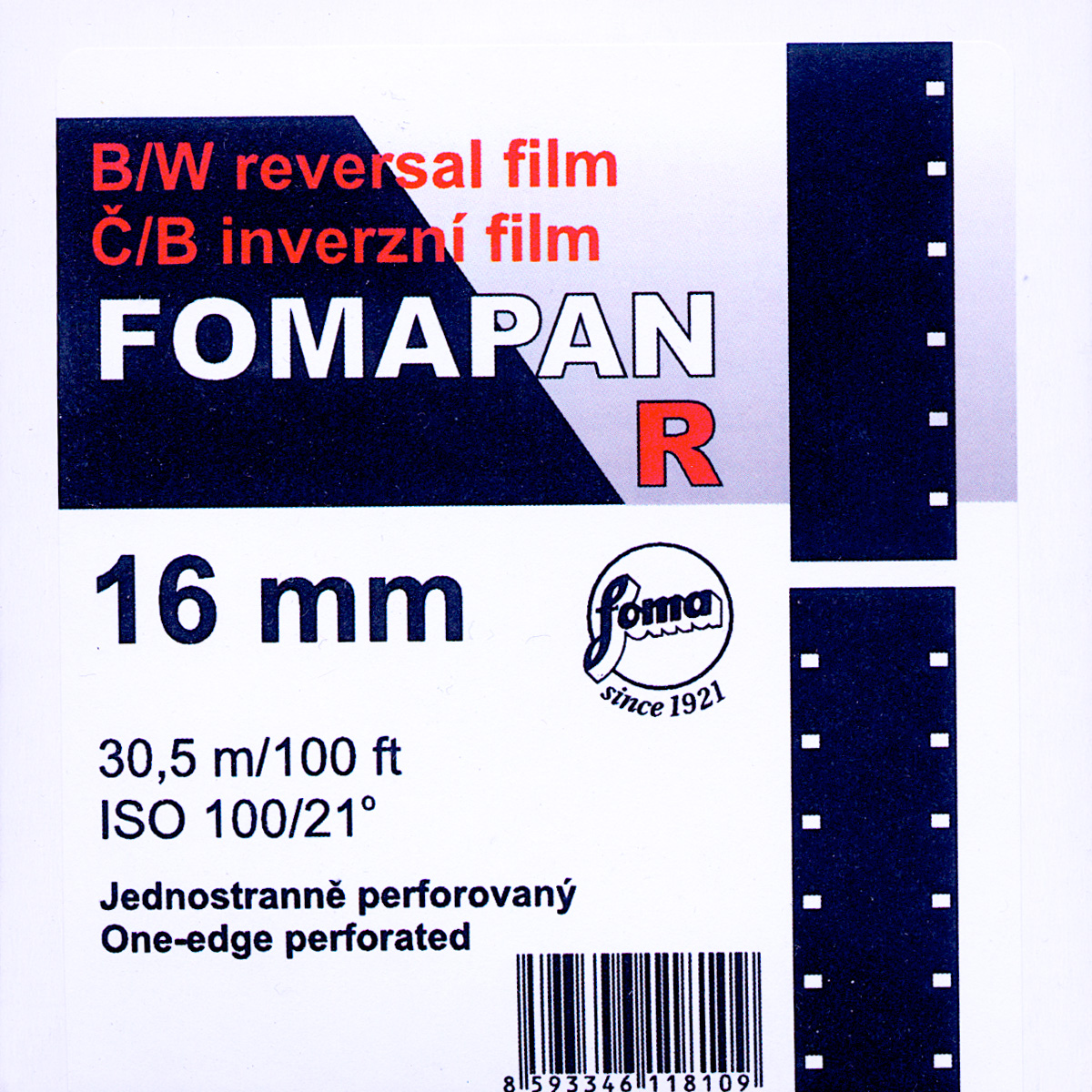 FOMA PAN 100D/100R   B&W 16MM REVERSAL FILM $40.00 - 100ft DAYLIGHT SPOOL $155.00 - 400FT ON CORE
