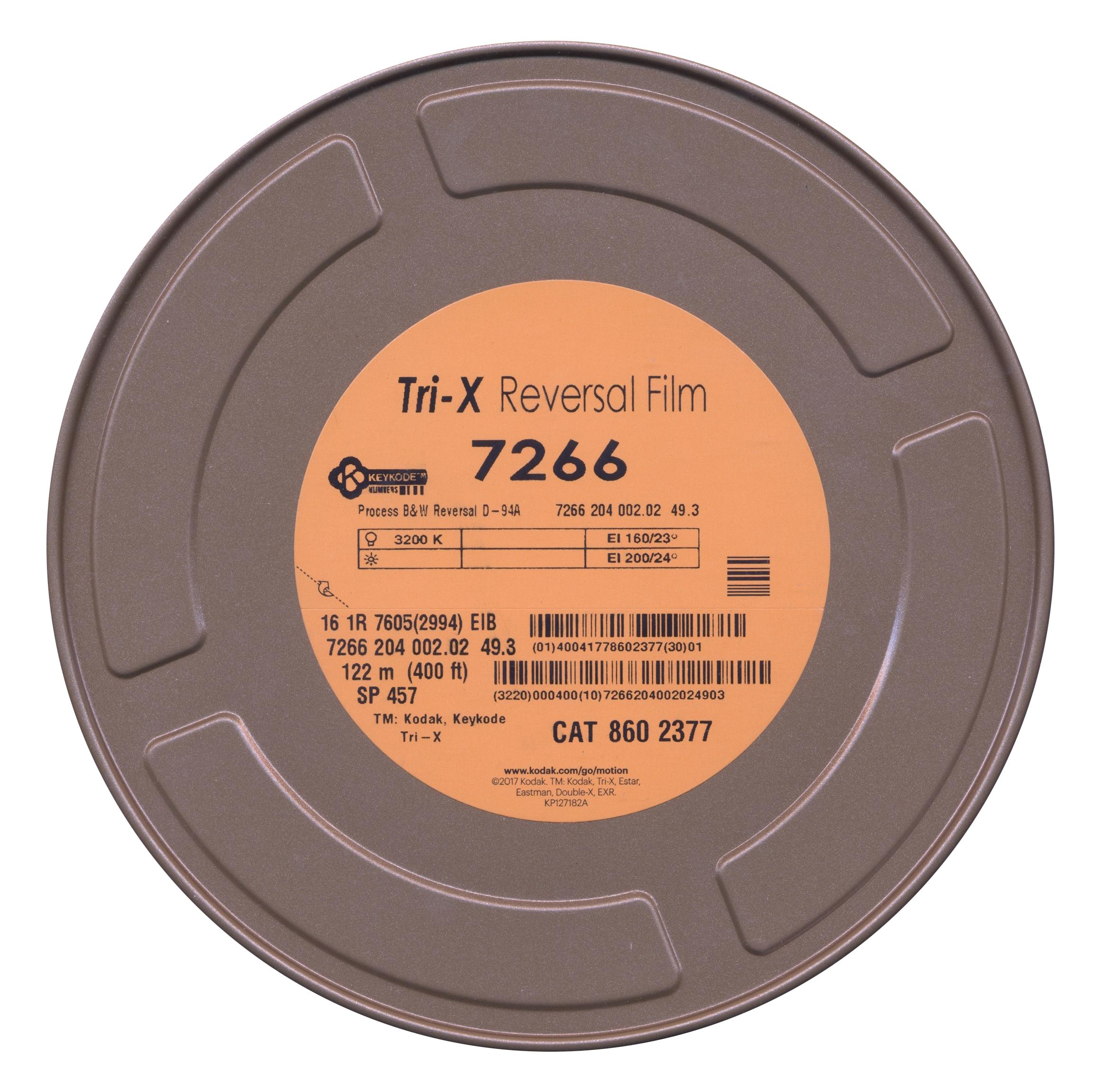TRI-X 200D/7266   B&W 16MM REVERSAL FILM $148.00 - 400FT ON CORE