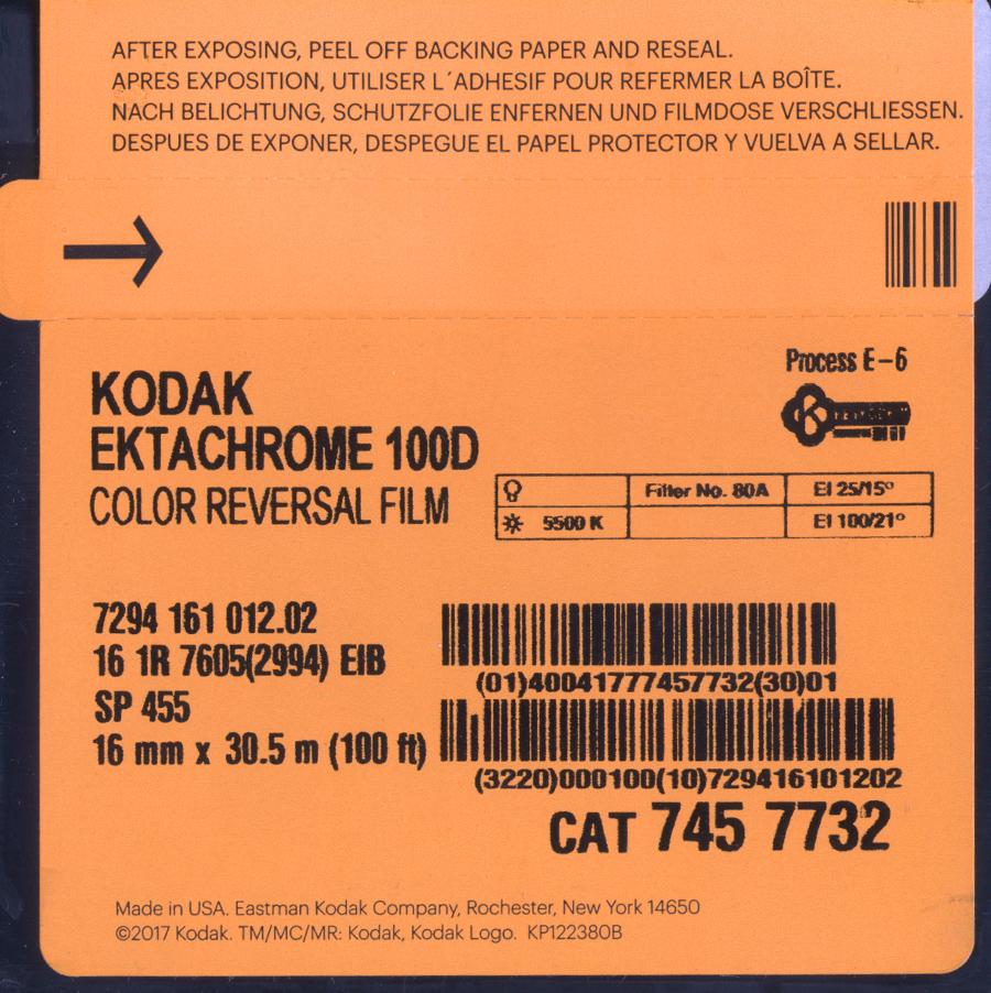 EKTACHROME 100D/7294   COLOR REVERSAL 16MM $60.00 - 100ft DAYLIGHT SPOOL