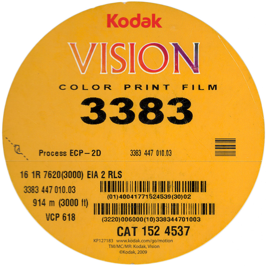 VISION COLOR PRINT FILM 3383   COLOR PRINT 16MM $12.00 - 100ft DAYLIGHT SPOOL or $00.15 a foot ANY LENGTH