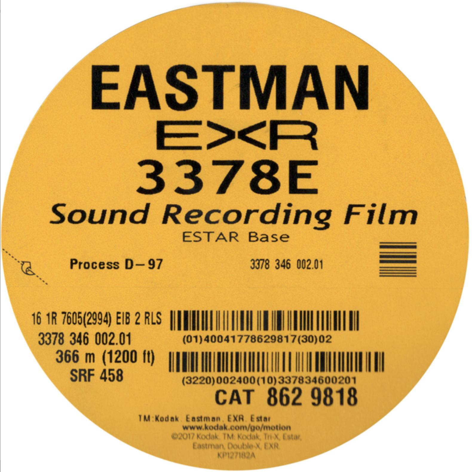 EASTMAN EXR 3378E B/W SOUND RECORDING FILM   B/W PRINT 16MM $12.00 - 100ft DAYLIGHT SPOOL or $00.15 a foot ANY LENGTH
