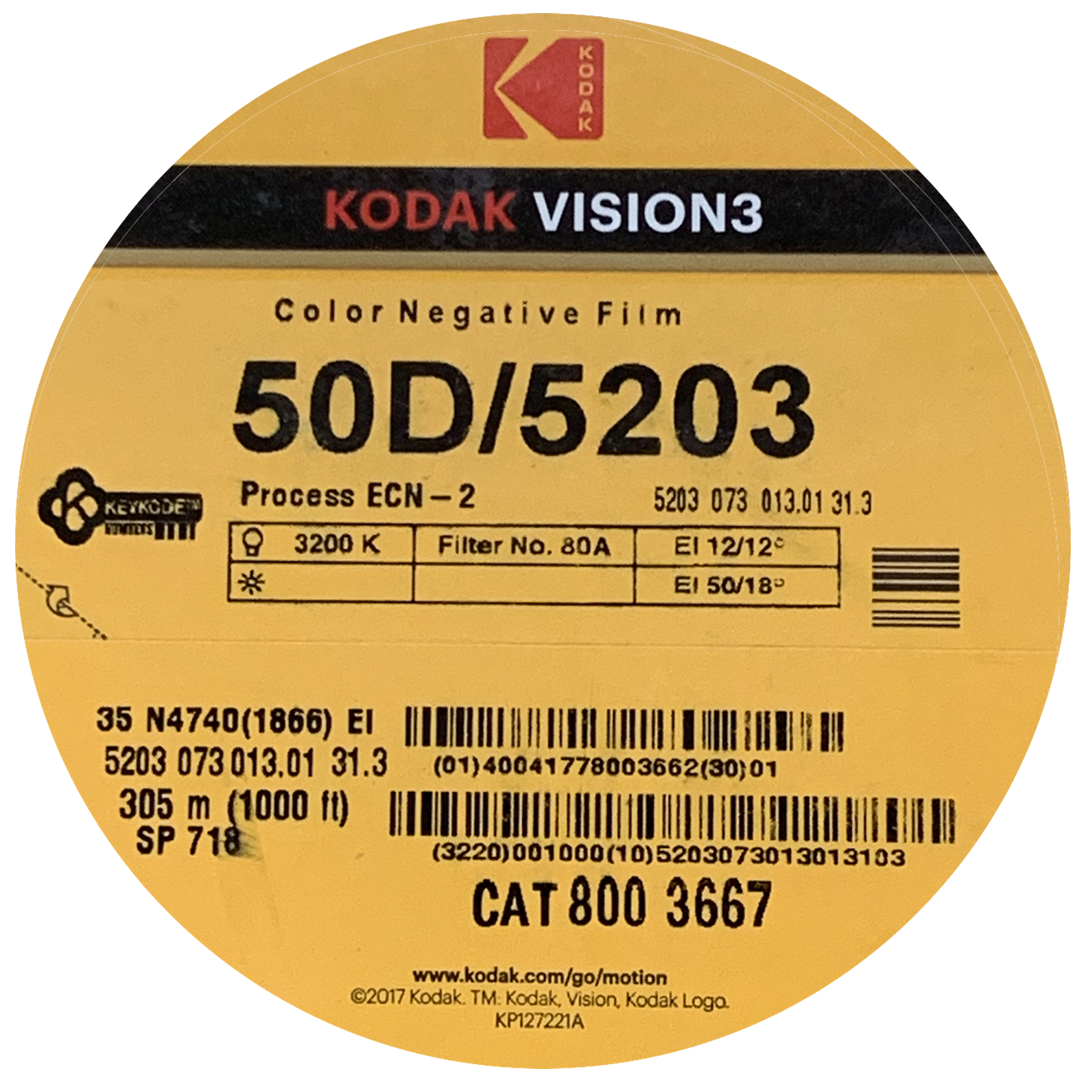 VISION 3 COLOR NEGATIVE FILM 5203'   KODAK COLOR NEGATIVE 35MM 50D (10% OFF LIST PRICE) $692.50 - 1000 FT ON CORE $284.90 - 400 FT ON CORE $0.56 / FT - SHORT ENDS (deeply discounted!)