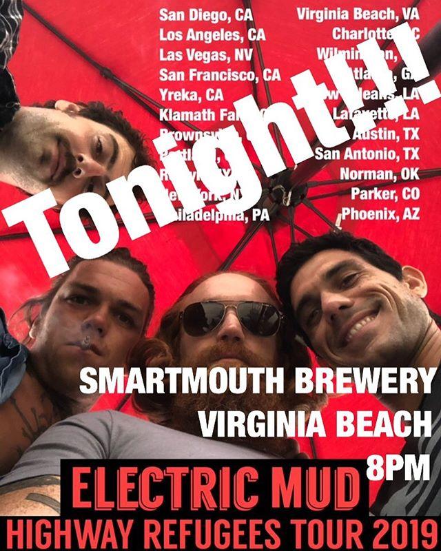 Virginia Beach Tonight @smartmouthbeer  Doors open at 8! #borntorocknroll #highwayrefugees
