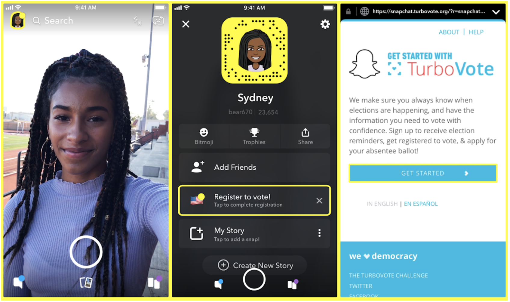 - Snapchat sent users to TurboVote via a mass snap on National Voter Registration Day and referred 1.4 million users to our site, Get to the Polls, to find their polling place during the election.