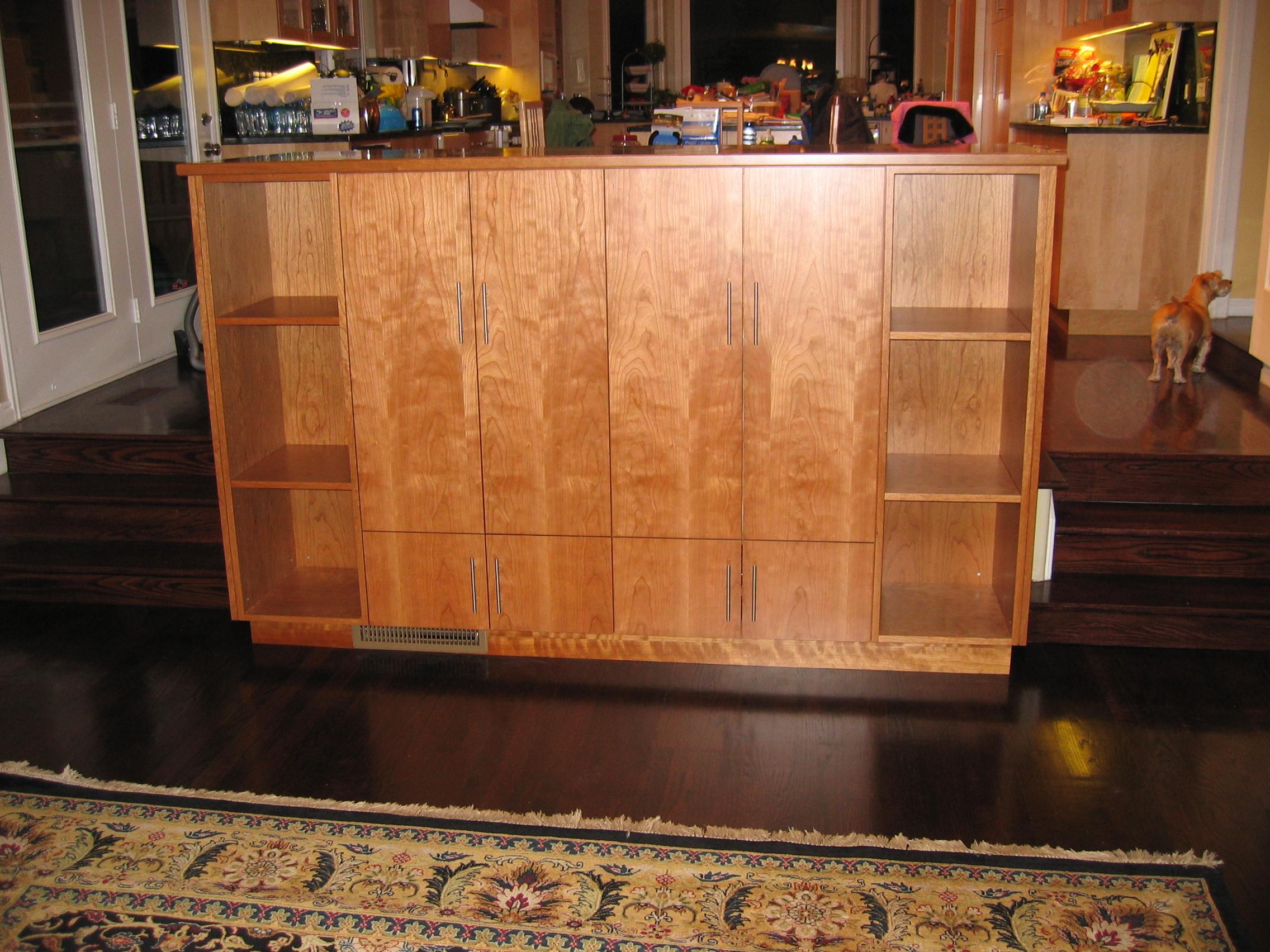 Cherry-maple pop-up, pivot TV cabinet