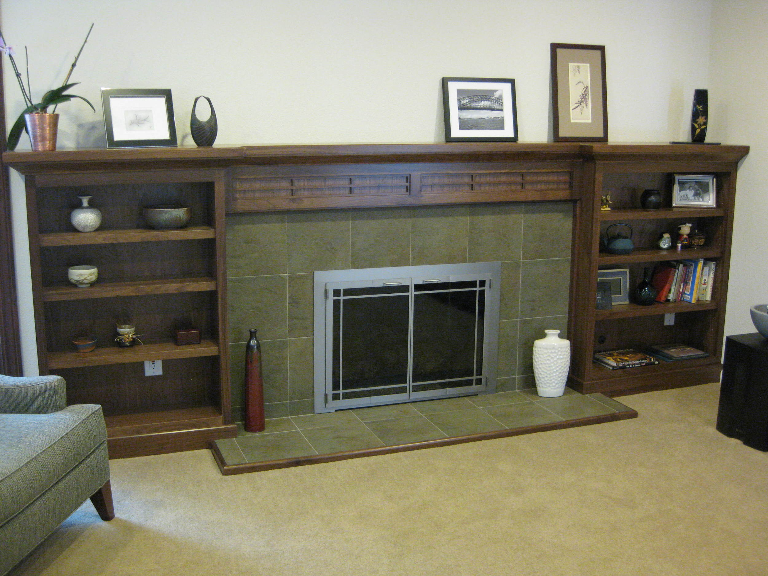 Sunnyvale, CA, Walnut Fireplace Mantel