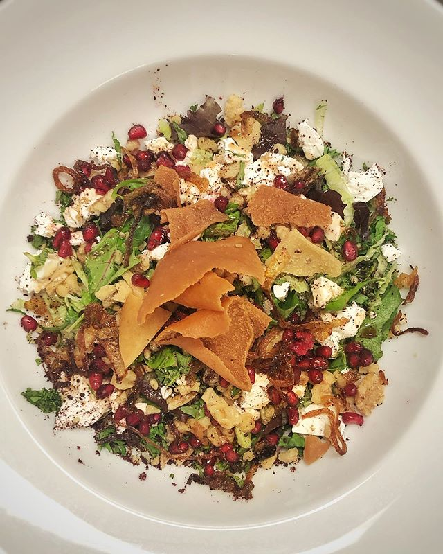 ~ Domaaj Salad ~  Fragrant mixed herb, walnut, fresh mint, tarragon and pomegranate seeds with feta crumble and caramelised onions. Perfect for lunch or as a side dish!  #brisbaneeats #bardonsbest #foodie #foodiehaven #paddington #innerwest #persian #persianrestaurant #sogood #brisbane #brisbaneanyday #sofresh #wintersalad #salad #ordernow #brisbanefoodie #pomegranate #freshmint #sogood  #weekendspecial #domaaj #domaajsalad