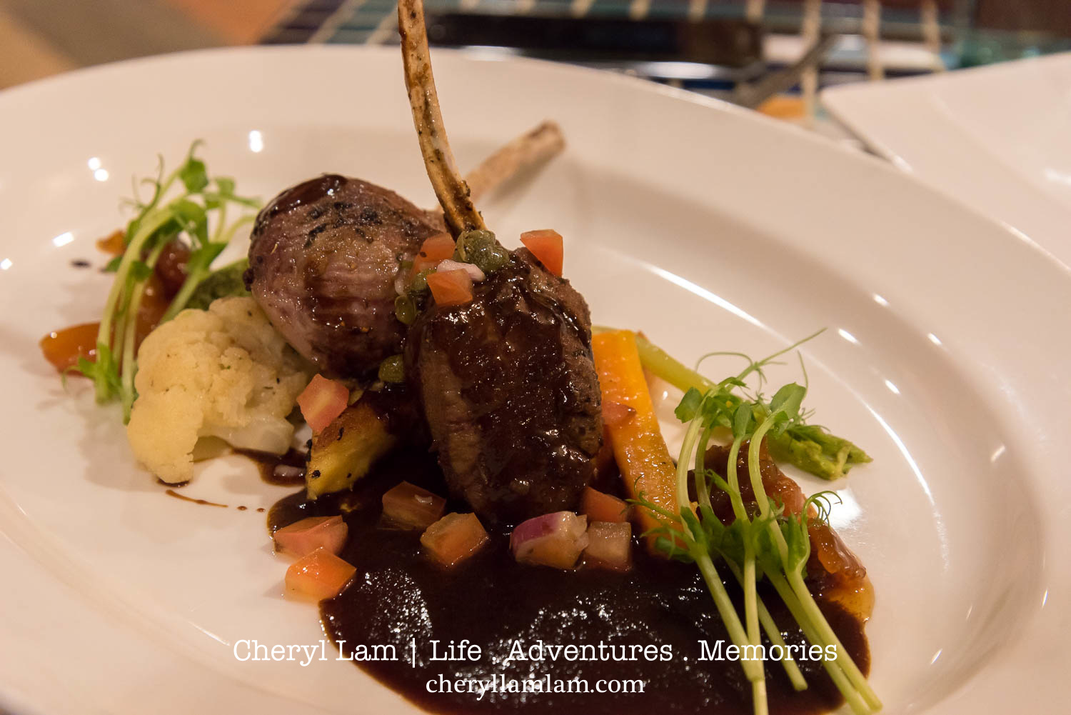Mek Mek Mek - Australian lamb rack, Rosemary Polenta cake, Glazed market vegetables and Miso jus