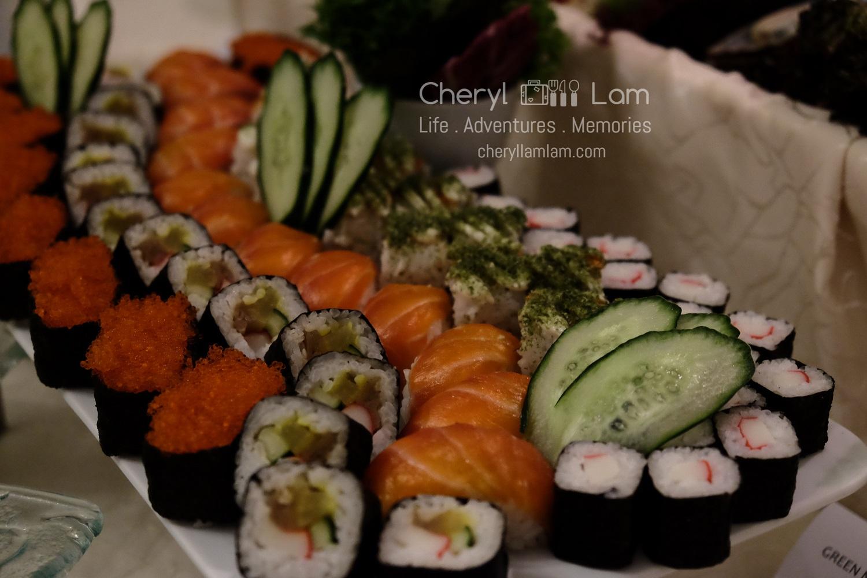 Assortment of Nigiri Sushi, Maki Rolls, Sashimi and California Rolls