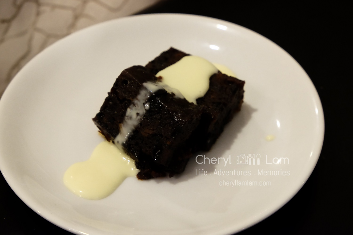 The only hot dessert of the night - Christmas pudding with custard sauce
