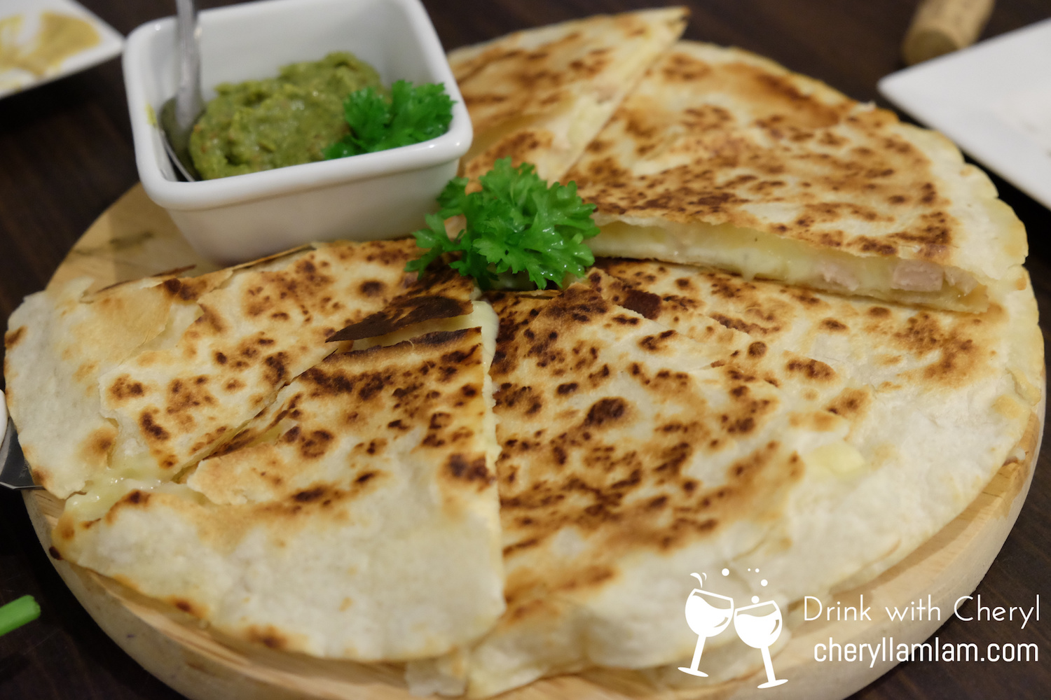 Quasadilla served with guacamole sauce  :: I love this so much!
