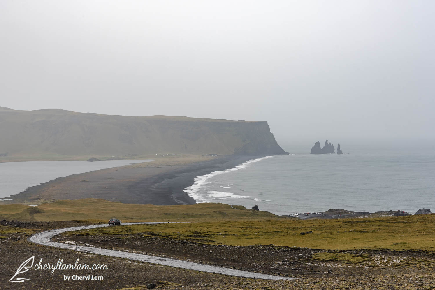 View of Reynisdrangar seen from the top of Dyrholaey