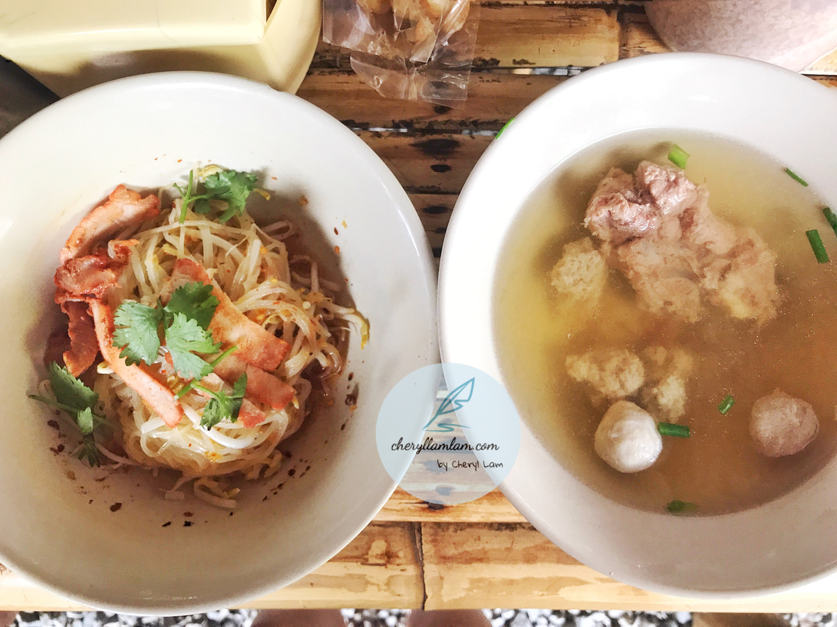 Dry koay teow and pork soup